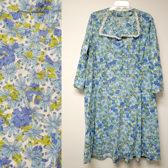 Vintage Dresses & Skirts - 50s blue and green floral shirt dress